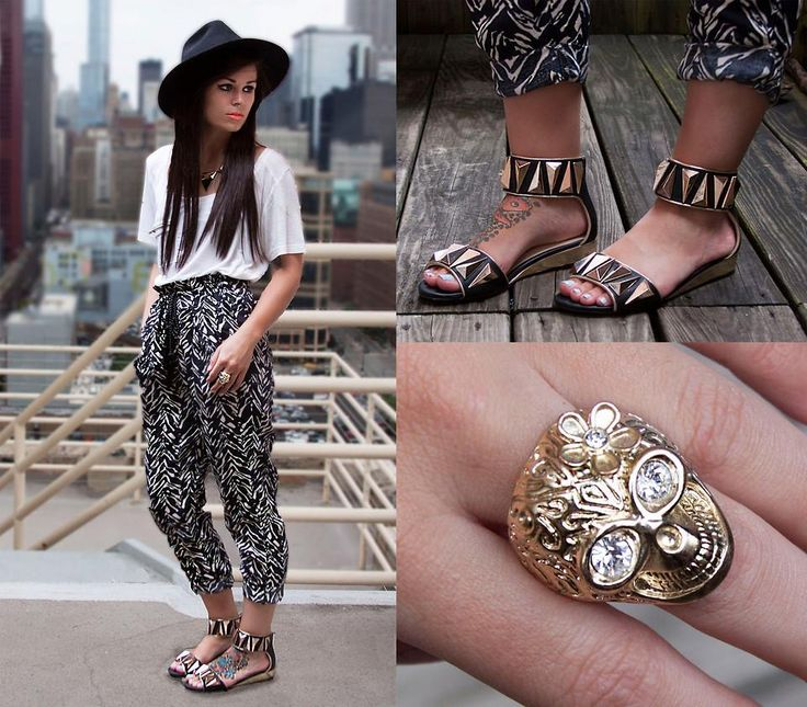 Sweetly chic with gold embellished accessories! (by Alexandra Ford)