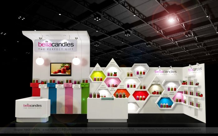 Clever product shelving & good use of color - Exhibition Booth 2014 by Nasir Uddin at Coroflot.com