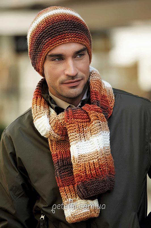 Мужские шапка и шарф спицами. Описание вязания