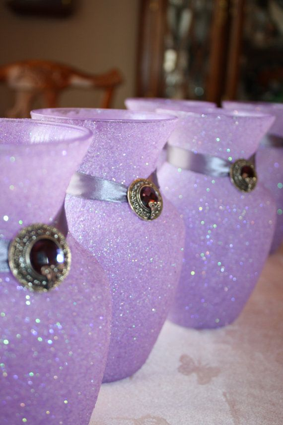 "Wedding Centerpiece Lavender Glittered Vase 8"" Decorations Special Occasion FREE SHIPPING on Etsy, $27.00"