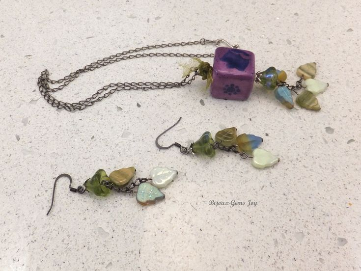 Pendant & Earrings, Blooming in the Square, Ceramic, Glass by BijouxGemsJoy on Etsy