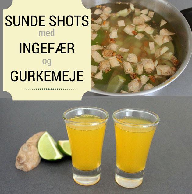 De her shots med ingefær, lime og gurkemeje smager både sødligt og stærkt. De holder sig en hel måned på køl, så det er nemt at starte morgenen ud med et sundt shot.