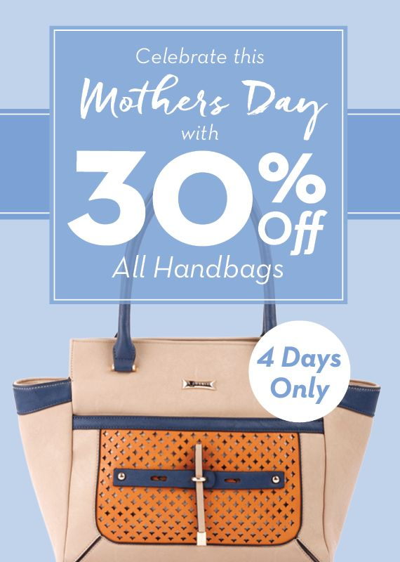 Mother's Day Special! 30% off all handbags – May 5th to 8th SHOP NOW > http://www.ingledews.com/collections/handbags-womens/Womens