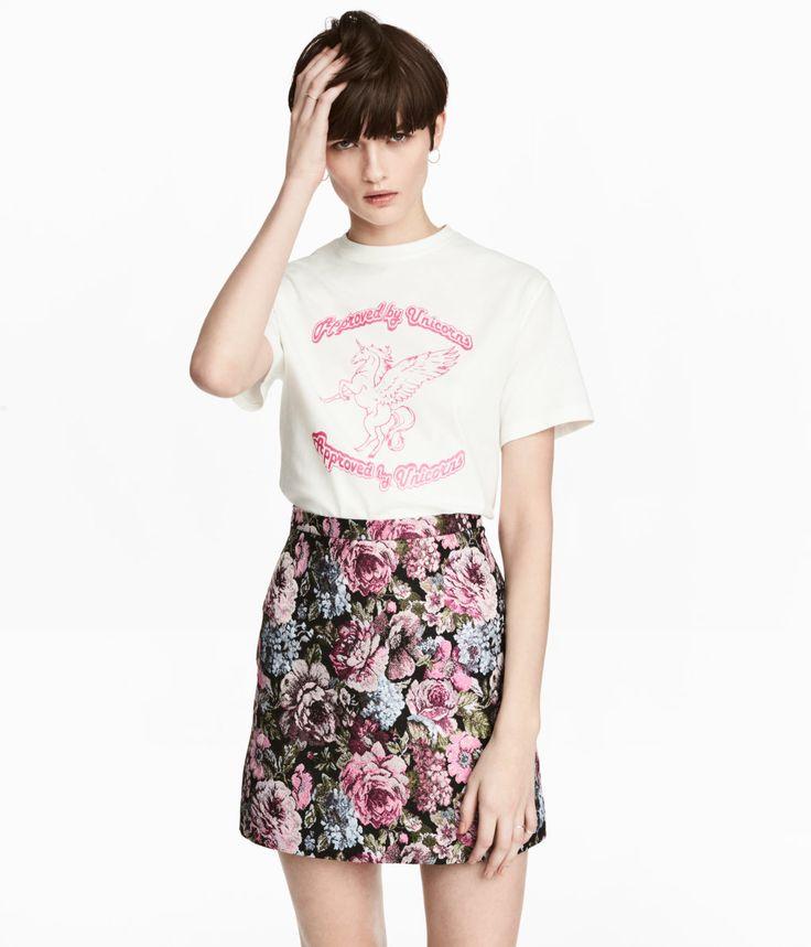 Jacquardvævet nederdel | Sort/Blomstret | Dame | H&M DK