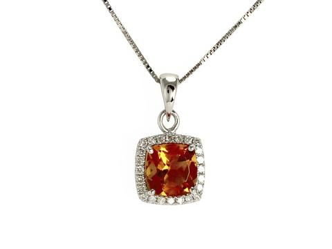 "White Gold Citrine & Diamond Pendant with Chain 14kt white gold genuine citrine and brilliant cut diamond pendant with chain  Chain: 18"" box chain  Weight: 1.75 grams  Pendant size: 7.8mm square  Diamond weight: 24=0.08 carat total  Check out our necklaces here: https://hwilliamsjewelleryshop.com/collections/all-products/products/white-gold-citrine-diamond-pendant-with-chain"