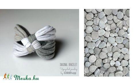 DIAGONAL - textil karkötő, szürke (cirrhopp) - Meska.hu