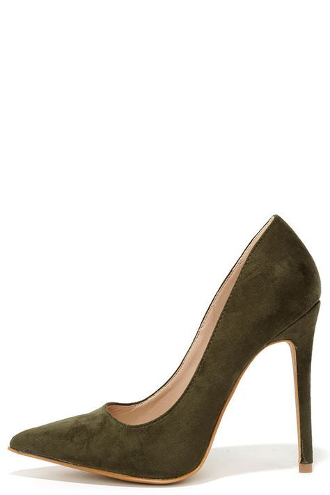 b67690b9732b Precisely Right Olive Green Suede Pointed Pumps at Lulus.com!
