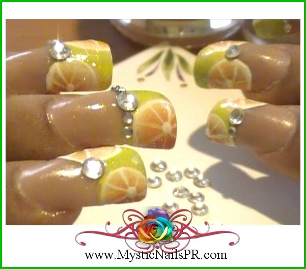Citrus Orange Nails  FREE tutorial DVD available http://www.facebook.com/MysticNails.Fan #mysticnails #nails #orange nails #citrus nails #orange nail art #nail art #fruit nails #fruit nail art