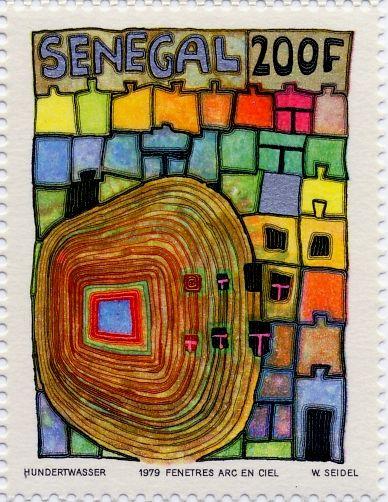 Hundertwasser Stamp Resource: Black Trees, Head, and Rainbow Windows