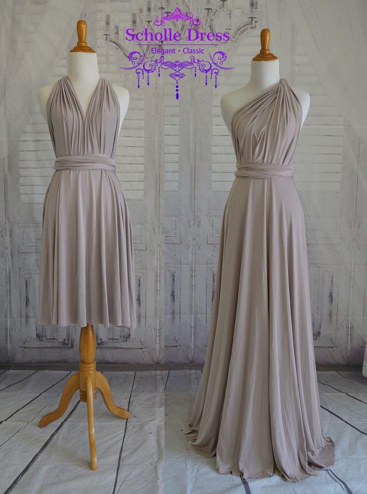 Taupe bridesmaid dress infinity Dress Convertible Formal,wrap dress party dress Evening dress -C48# B48# door ScholleDress op Etsy https://www.etsy.com/nl/listing/535396103/taupe-bridesmaid-dress-infinity-dress