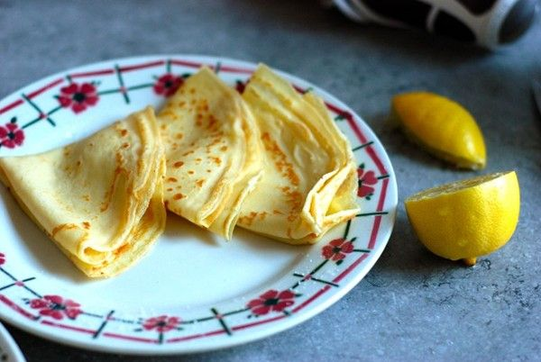 """Delia Smith's pancakes with lemon and sugar from The Wednesday Chef & Delia Smith - Eat Your Books is an indexing website that helps you find & organize your recipes. Click the """"View Complete Recipe"""" link for the original recipe."""