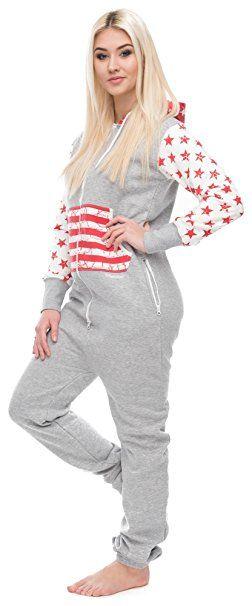 f0812244a62336 Loomiloo® Jumpsuit Freizeitanzug Overall Hausanzug Einteiler Strampler  Anzug Pyjama Sonntag Schriftzug/USA US Flagge