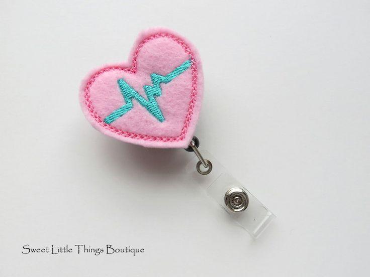 Retractable ID Badge Holder, Pink/aqua Heart EKG ID Badge Reel, Name Badge Holder, Badge Clip, Nurse, Doctor, Teacher, Pharmacist, Cardiac by TheSweetLittleShop on Etsy
