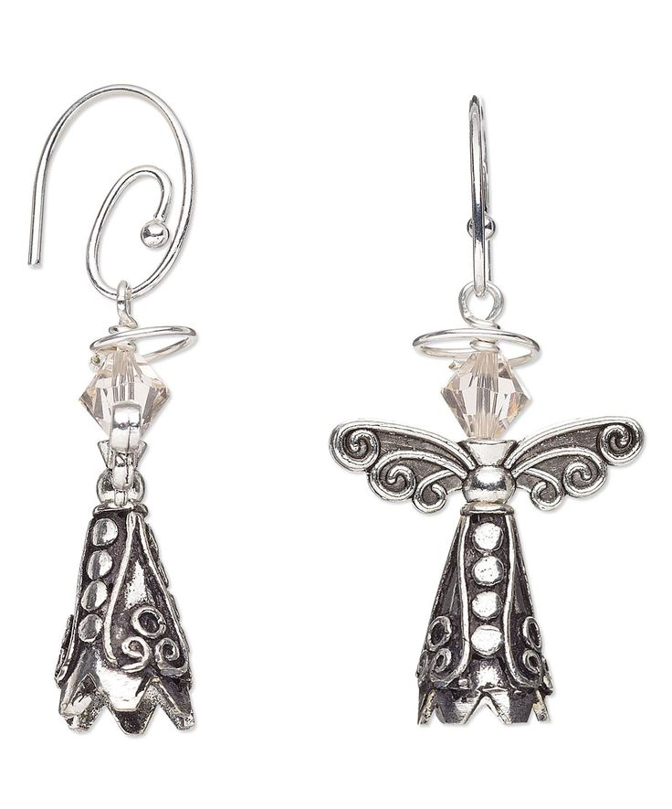 Angel Earring with Antiqued Silver-Plated Beads and Swarovski Crystal   #angels #christmas #diychristmas #jewelrymaking #diyearrings #beading