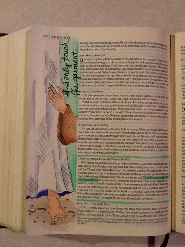 Matthew 9:20-21. Sherrie Bronniman - Art Journaling: In My Bible