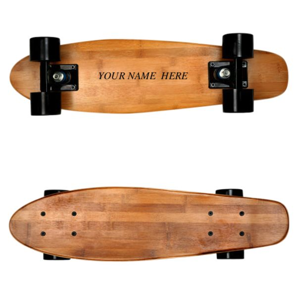 Laser engraved personalised skateboard