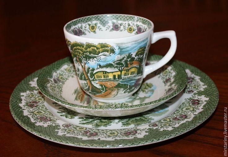 """Купить Красивая чайная тройка """"Деревенский коттедж"""" Royal Tudor, Англия - зеленый, мир старины"""