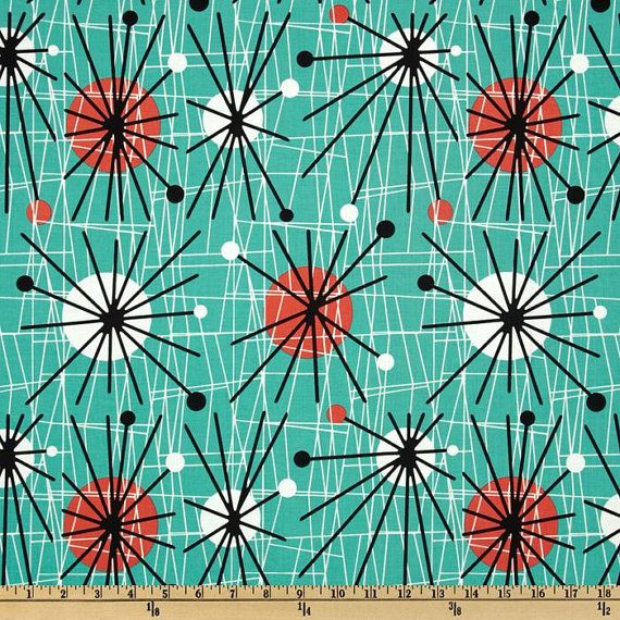 Michael Miller MidCentury Modern Atomic Turquoise by HappyFabrics, $8.75
