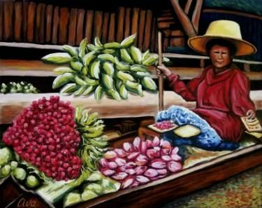 "Saatchi Art Artist Dan Civa; Painting, ""Floating Market, Bangkok, Thailand - No.G."" #art"