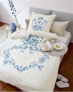 Bettwäsche Blaue Blume Baumwolle Leinen Druck