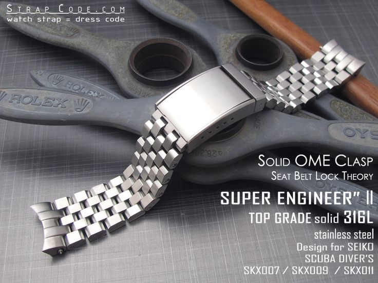 NEW Solid OME Seatbelt Clasp on heavy duty Super Oyster solid 316L stainless steel watch bracelet design for Seiko Scuba Diver SKX007 SKX009 SKX011 models or other 22mm lug Seiko diver or sport watch case with the same curvature as the above models Generic 25mm diameter Fat stainless steel spring bars included Another awesome replacement watch bracelet tailor made for Seiko Diver SKX007 SKX009 SKX011 Item number SS222015B025 Brand Name Super Engineer II Lug width 22mm Buckle size 20mm B...