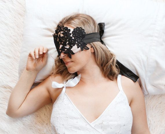Satin & Lace Blindfold Sleep Mask in Dusty Rose Pink and Black Handmade Romantic Gift