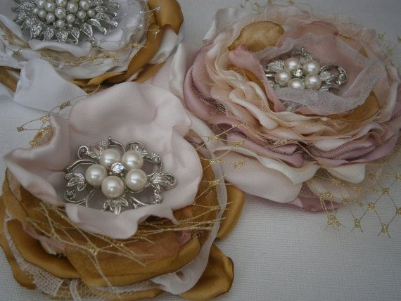 Fabric flowers in blush pink gold and ivory Bridal by Flowears