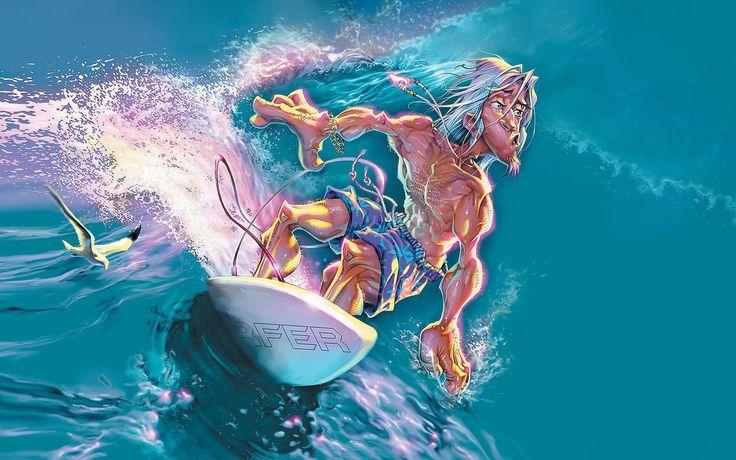 Awesome Surfer Cartoon 2013 Surfing Waves Drawing Hd Desktop Wallpaper