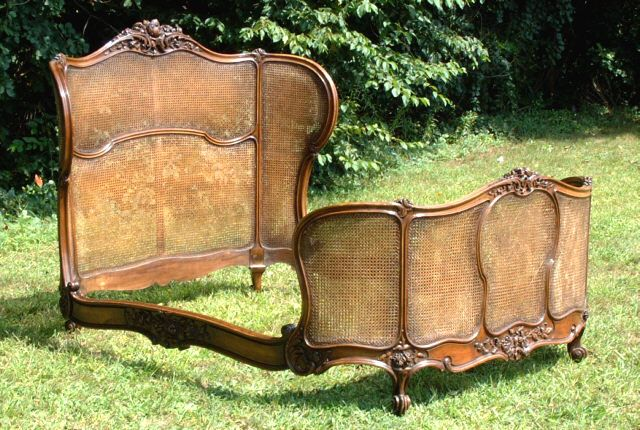 Oh my.  antique french cane walnut bed 1860 Furniture. Wouldn't you feel all protected and cosy in this bed.