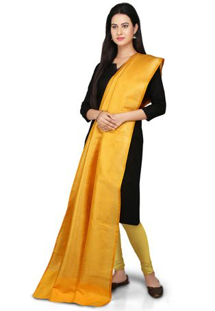 Banarasi Handloom Art silk Dupatta in Yellow