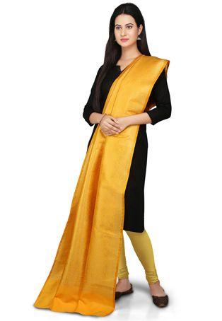 Banarasi Handloom Art silk Dupatta in Yellow