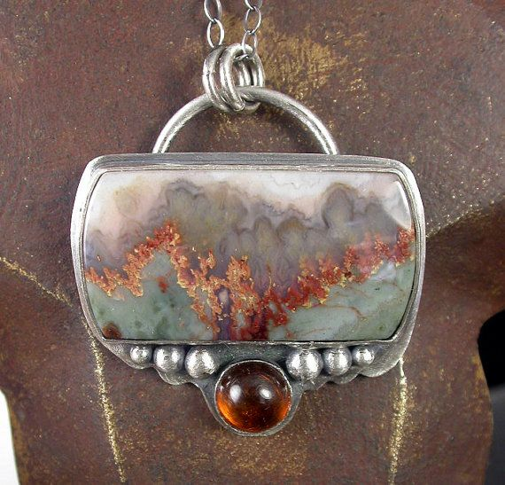 Prudent Man Agate and Amber Stone and Sterling by SimplyAdorning, $132.00 (I like the big rings on the chain)