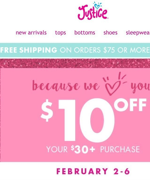 4 Justice Coupon $10 Off $30 or More Purchase Valid February 2 6 2017 | eBay