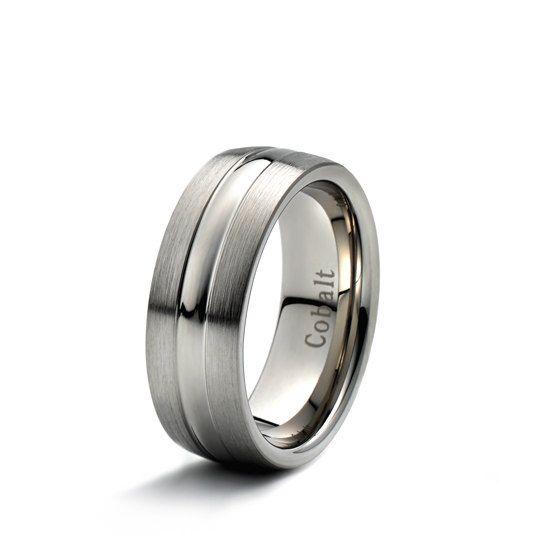 Men's Cobalt Wedding Band 8mm Brushed Polished domed by carat323