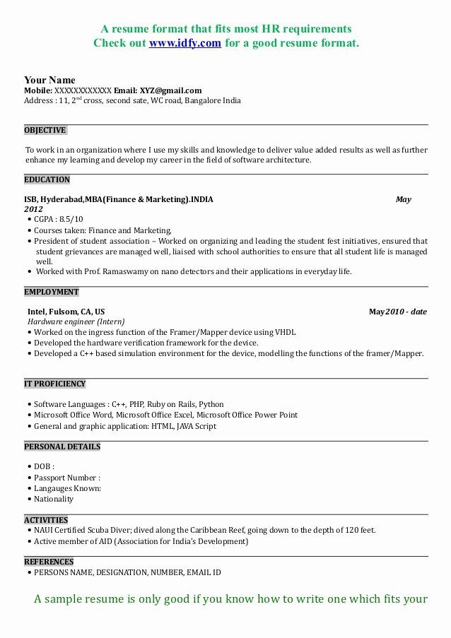 Mba Application Resume Examples Inspirational Mba Resume Sample Format Resume Format Download Best Resume Format Business Resume Template