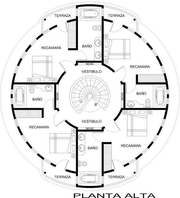Planos De Casas Circulares Planos De Casas Casa Circular Disenos De Casas