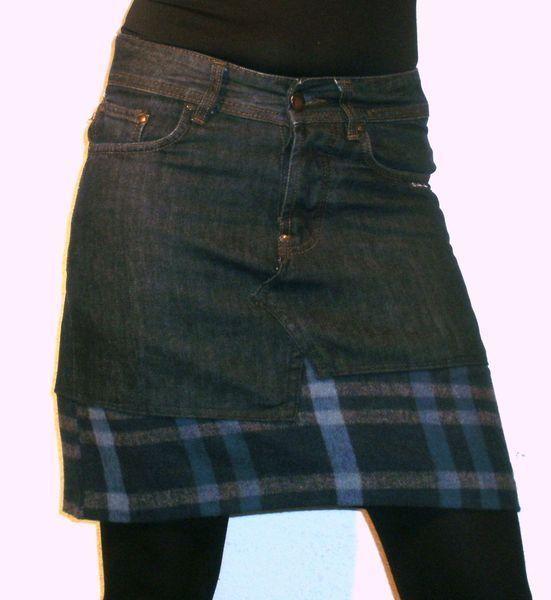 Blauer+Jeansrock+mit+karierten+Details+von+s-he-does+auf+DaWanda.com to lengthen those 80s mini skirts