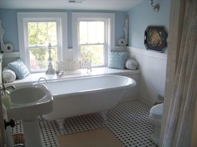 Gorgeous Shabby Cottage Bathroom with Claw Foot Tub, with a divine full width window seat