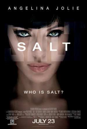 "Pin 17 | Test Set 6/8 | A woman's face in a shadowy environment. The word 'SALT' is in the center, below it the question ""Who is Salt?"" via Salt (2010 film) 