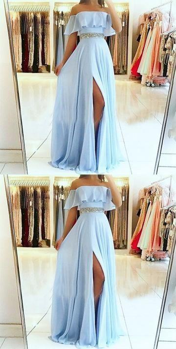 A-line Off the Shoulder Split Front Blue Chiffon Evening Dress with Beaded Belt …