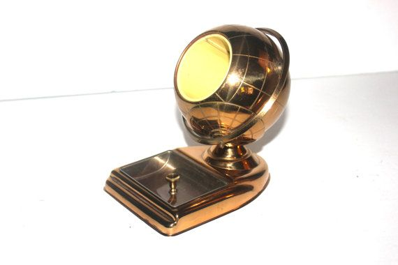 Antique Art Deco Brass Globe Ashtray and by AntiqueAlchemyShop