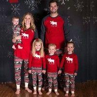 Wish | Christmas Family Women Men Sleepwear Pajamas Set Striped Cotton Pyjamas Outfits
