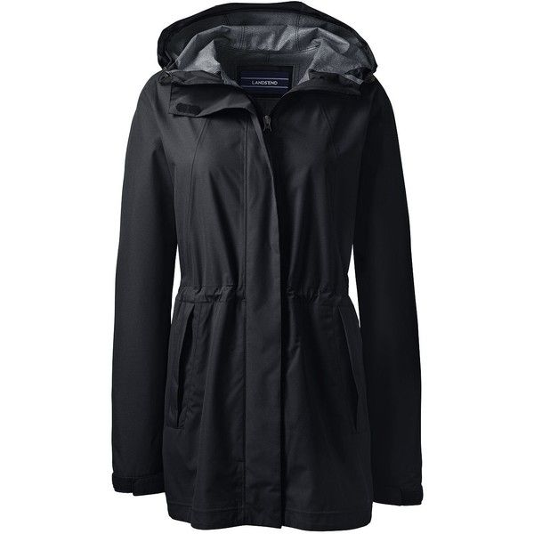 Lands' End Women's Petite Waterproof Rain Parka (160 CAD) ❤ liked on Polyvore featuring outerwear, coats, black, lands end parka, hooded parka coat, petite parka, parka coat and waterproof parka