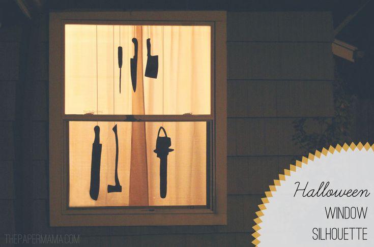 Need simple last minute Halloween Decor? Free printouts to make this Halloween Window Silhouette!