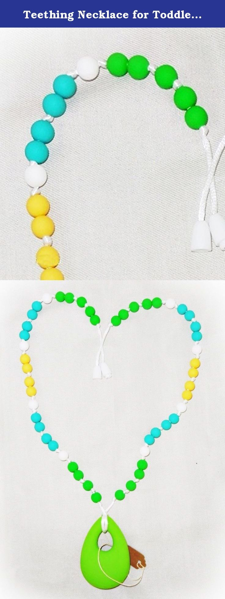 Teething Necklace for Toddler, Mommy Teether Aid, Teething Baby Relief, Electric Lime Teething Necklace. Food-safe silicone beads have been knotted in attractive collections to sooth Baby's teeth and coordinate with Mommy's wardrobe! The best thing since sliced bread, these teething necklaces are the answer to your (or, more specifically, your Precious Pumpkin's) teething woes! This Lime Time necklace features a little visual tang with green, aqua, and yellow. Pucker up and chomp!.