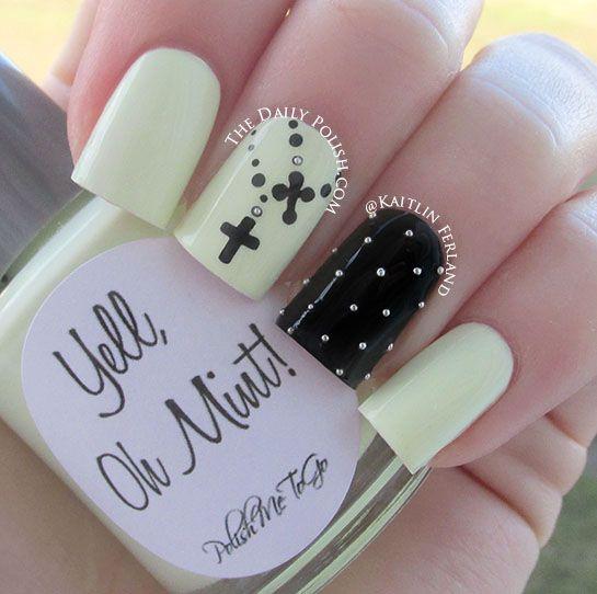 Glow in the dark nail polish, love the crosses!