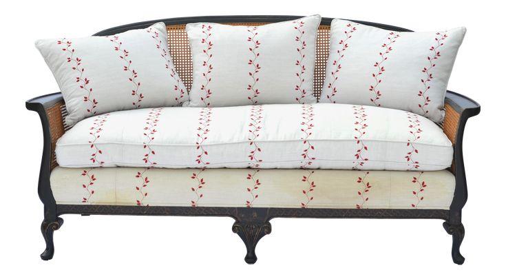 Chinoiserie Cane Back Settee Sofa on Chairish.com
