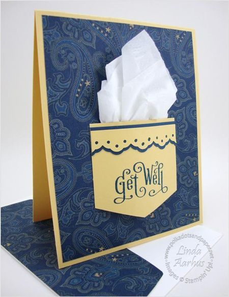 handmade Get Well card ... pocket with real kleenex ... luv the blue paisley background paper ... Stampin' Up!