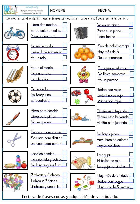 Nueva serie de fichas para trabajar la comprensión lectora de frases muy cortas. - Aula PT