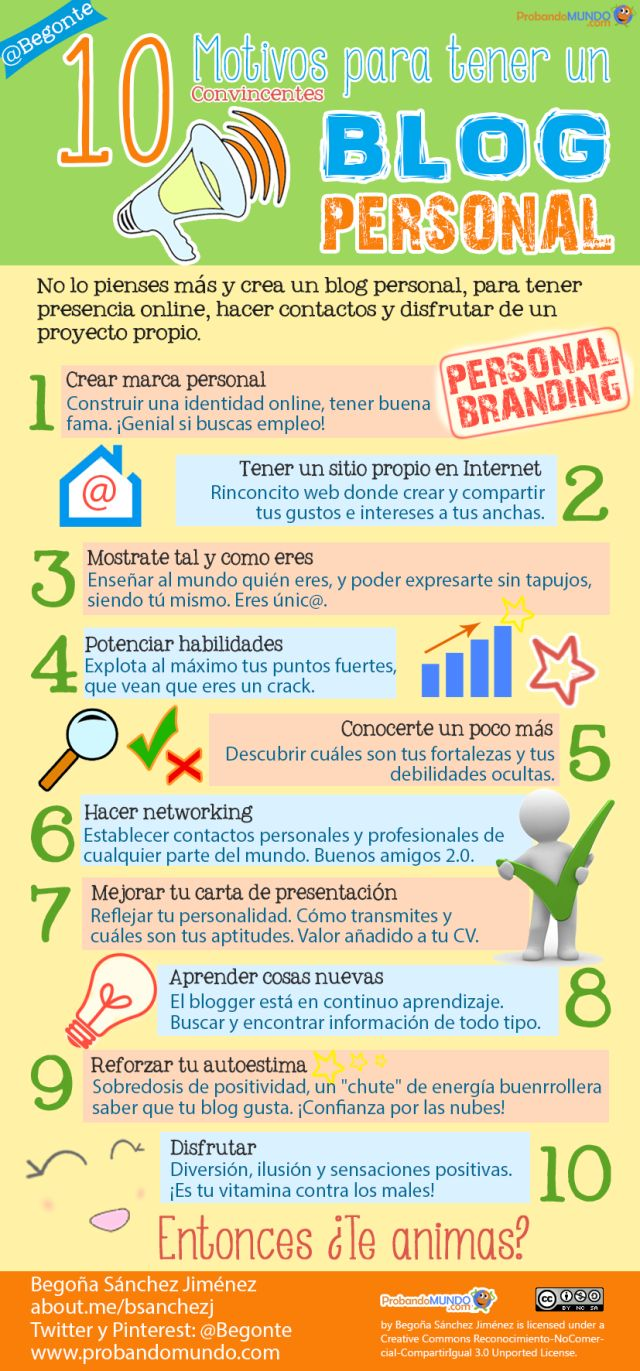 10 motivos para tener un Blog personal #infografia #infographic #marketing